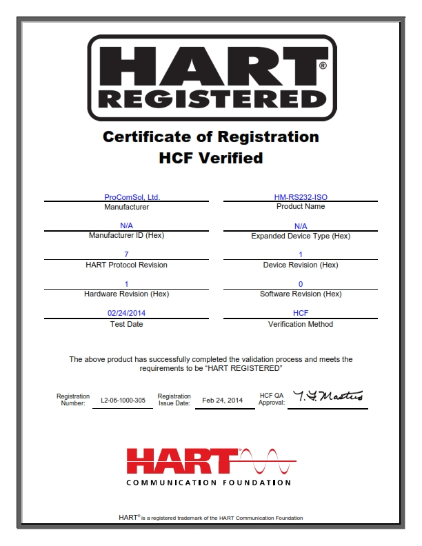 RS232 HART Modem HM-RS232-ISO HART Registration Certificate